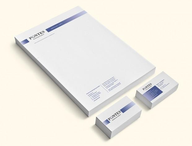 Briefpapier und Visitenkarten Unternehmensberatung Pontes