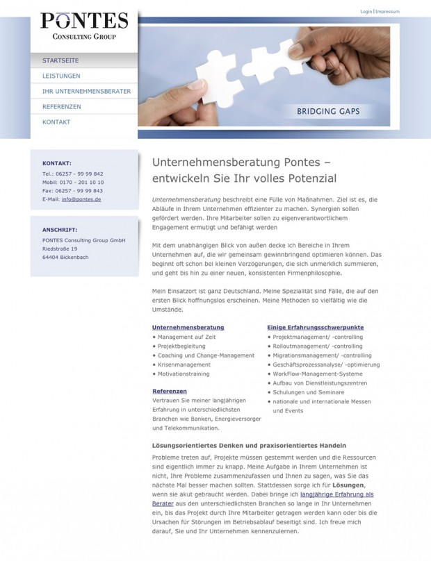 Webseite Unternehmensberatung Pontes