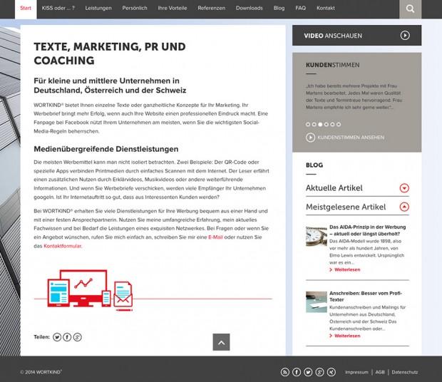 Webseite Wortkind